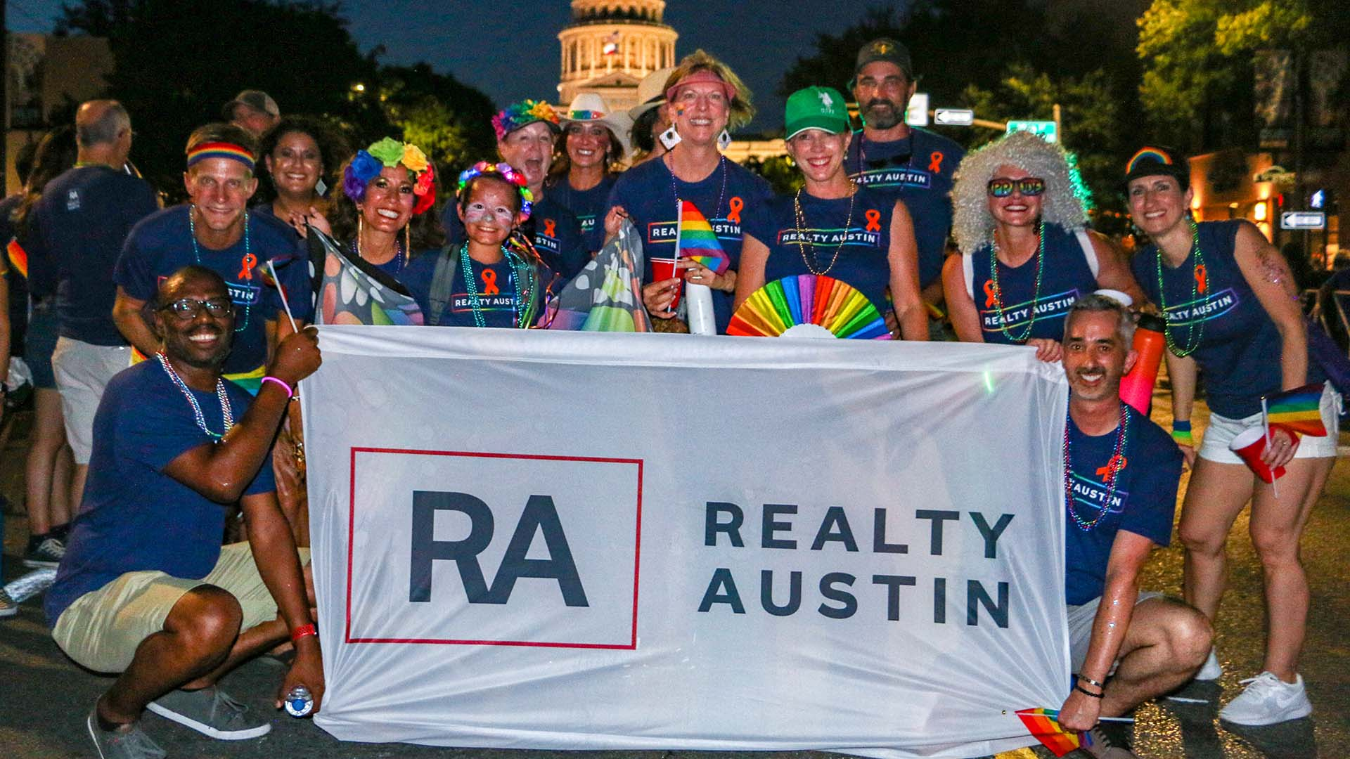 Image of Realty Austin Agents and Staff Walking at the Austin Pride Parade 2019