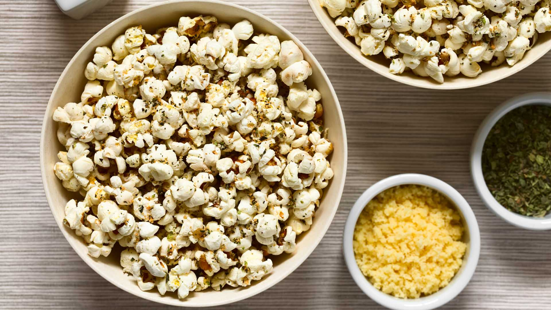 Image of Popcorn with Herbs and Asiago Cheese