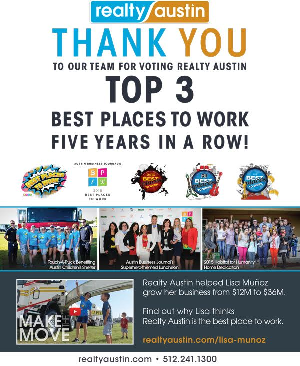Image of Thank You to Realty Austin Team for Voting