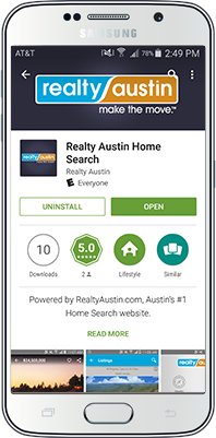Realty Austin Mobile Home Search App for Android in beautiful female hand