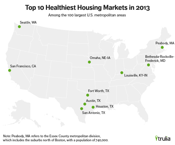 Map of Cities with the Healthiest Housing Markets