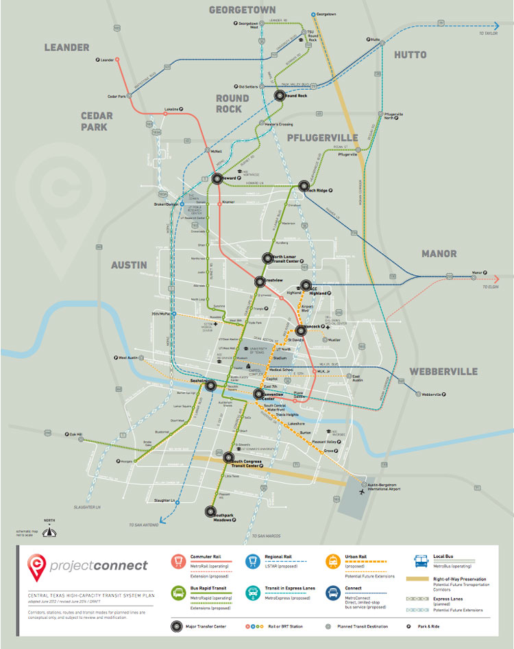 Map of transit expansion proposed in Austin 2014 Bond Election Proposition 1