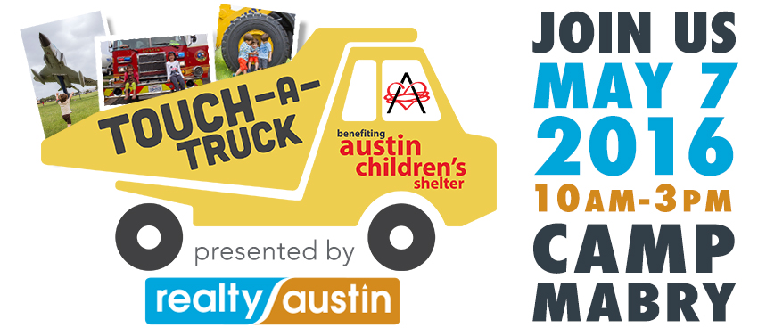 Image of Touch-A-Truck Logo - Kid Friendliest Event Sponsored by Realty Austin and Benefiting Austin Children's Shelter